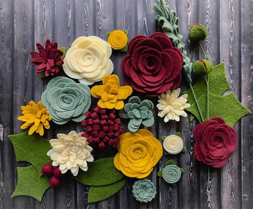 Decorative Handmade Felts Fabric Flowers
