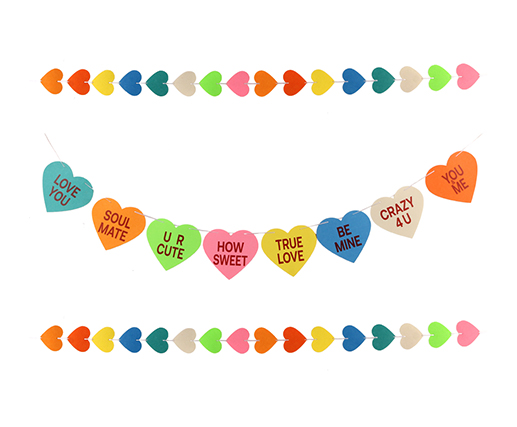 Valentines Conversation Candy Hearts Banner - Felt Candy Hearts Banner Garland - Funny Valentine's Day Decorations - NO DIY Required
